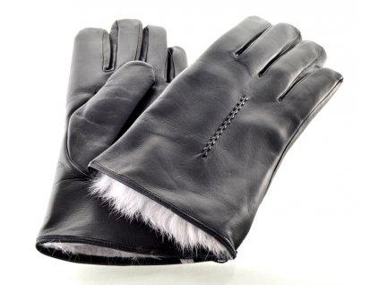 Teplé pánské kožené rukavice s podšívkou ze španělského králíka