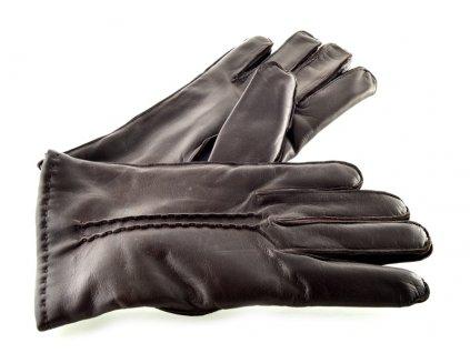 Pánské kožené rukavice hnědé s podšívkou