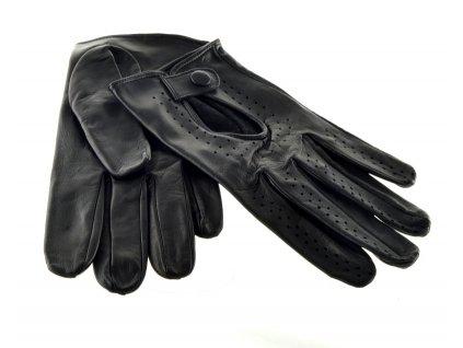 Kožené řidičské rukavice černé